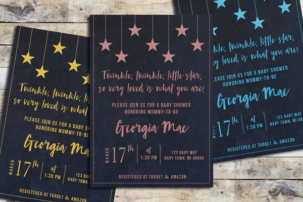 Baby Shower Invitation - Twinkle Twinkle (Chalk Sky & Color)