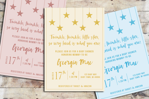 Baby Shower Invitation - Twinkle Twinkle (Colored Background)