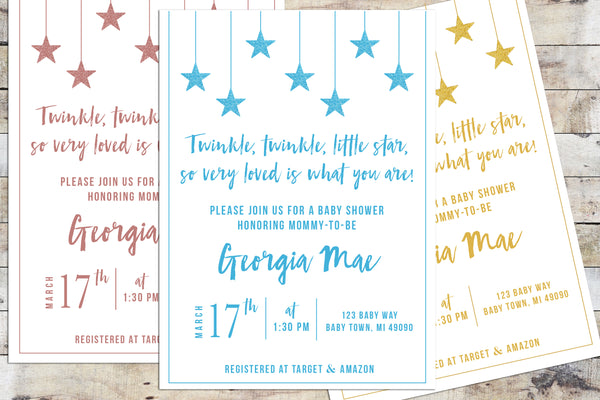 Baby Shower Invitation - Twinkle Twinkle