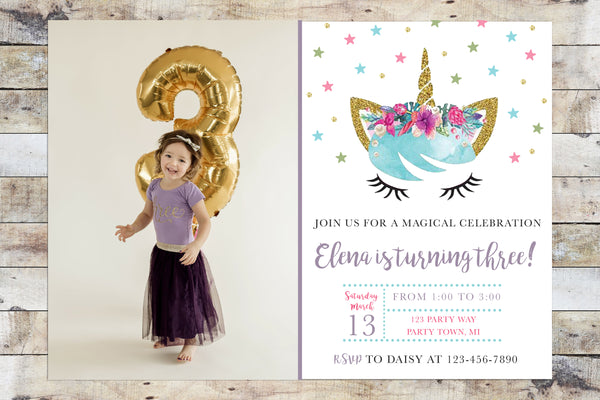 Birthday Invitation - Unicorn (Gold Glitter) w/ Photo