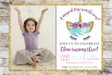 Birthday Invitation - Unicorn (Gold Glitter) w/ Photo & Glitter Border