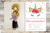 Birthday Invitation - Unicorn (Pink) w/ Photo
