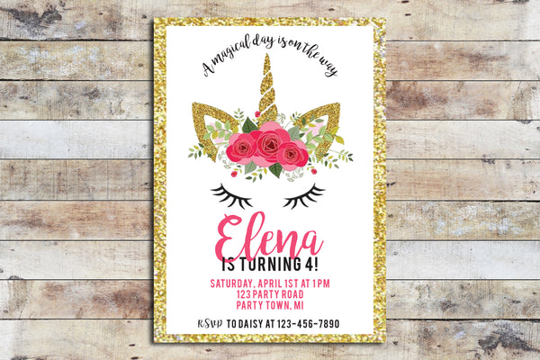 Birthday Invitation - Pink Unicorn with Gold Glitter