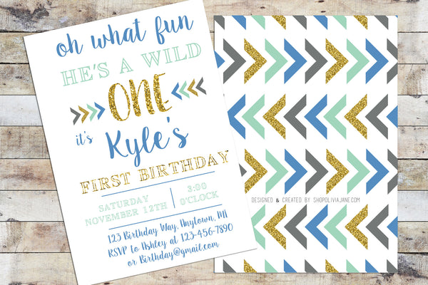Birthday Invitation - Wild One (Boy)