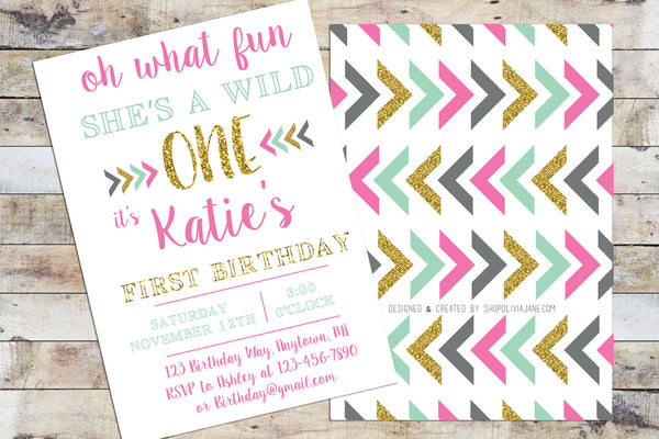 Birthday Invitation - Wild One (Girl)