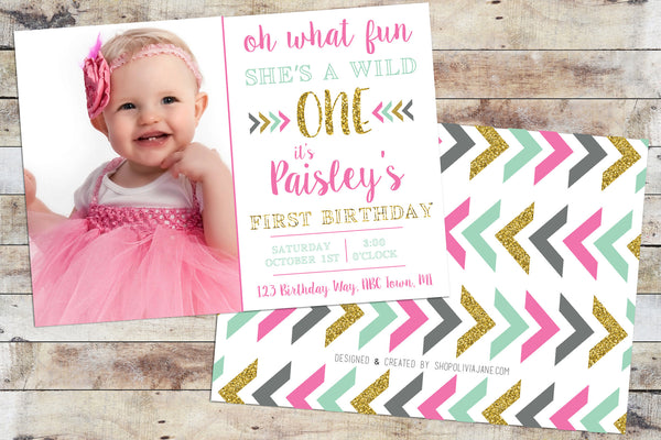 Birthday Invitation - Wild One (Girl) w/ Photo