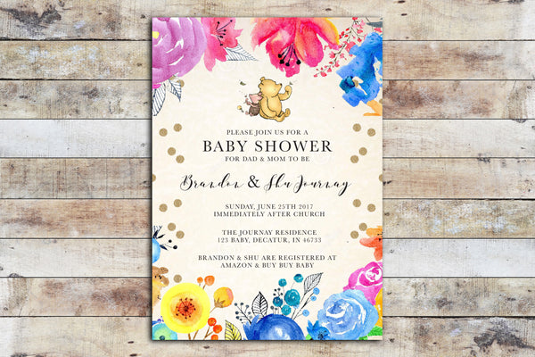 Baby Shower Invitation - Winnie the Pooh | Floral