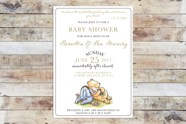 Baby Shower Invitation - Winnie the Pooh | Formal & Colored Font