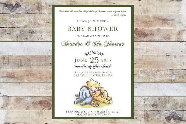 Baby Shower Invitation - Winnie the Pooh | Formal Invitation w Piglet & Green Border