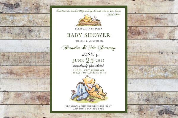 Baby Shower Invitation - Winnie the Pooh | Formal w Piglet and Green Border