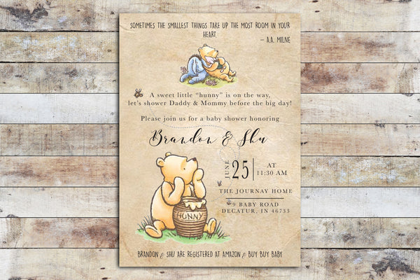 Baby Shower Invitation - Winnie the Pooh | Hunny FUN on Vintage Paper Background w Eeyore