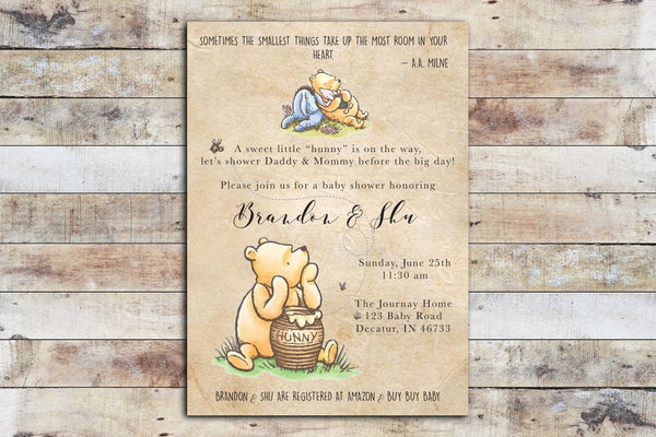 Baby Shower Invitation - Winnie the Pooh | Hunny on Vintage Paper Background w Eeyore