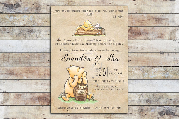 Baby Shower Invitation - Winnie the Pooh | Hunny FUN on Vintage Paper Background w Piglet