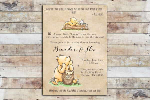 Baby Shower Invitation - Winnie the Pooh | Hunny on Vintage Paper Background w Piglet