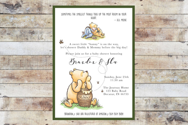 Baby Shower Invitation - Winnie the Pooh | Hunny w Eeyore & Green Border
