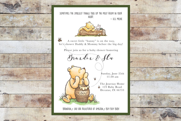 Baby Shower Invitation - Winnie the Pooh | Hunny w Piglet & Green Border