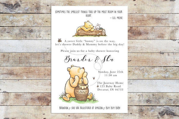 Baby Shower Invitation - Winnie the Pooh | Hunny w Piglet
