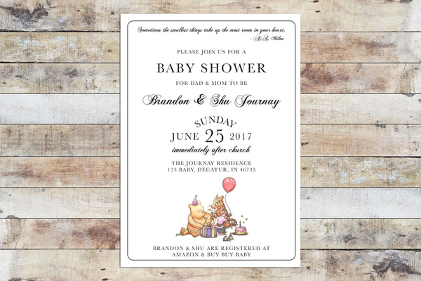 Baby Shower Invitation - Winnie the Pooh | Formal Invitation