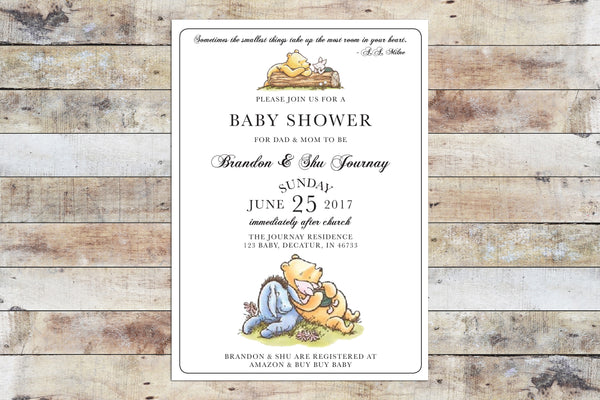 Baby Shower Invitation - Winnie the Pooh | Formal Invitation w Piglet