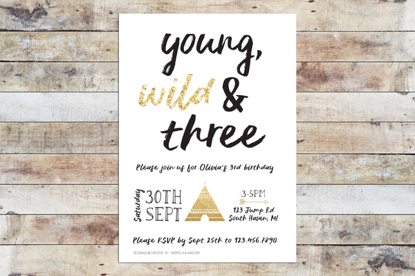 Birthday Invitation - Young Wild Three w/ Glitter
