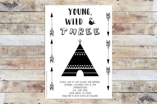 Birthday Invitation - Young Wild Three (B&W Wild)