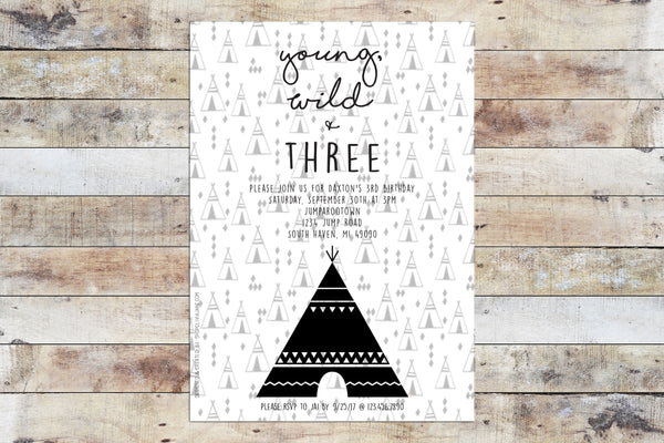 Birthday Invitation - Young Wild Three Tribal (B&W)