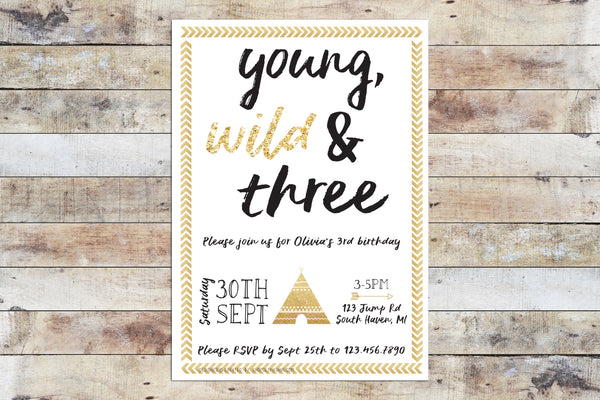 Birthday Invitation - Young Wild Three w/ Glitter Border
