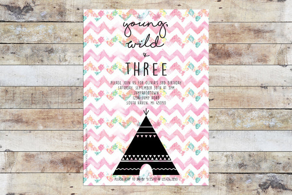 Birthday Invitation - Young Wild Three Tribal (Floral)