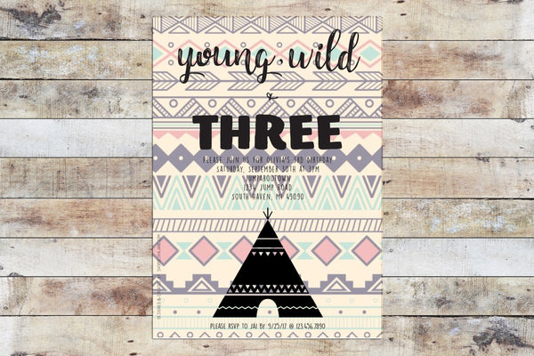 Birthday Invitation - Young Wild Three Tribal v1