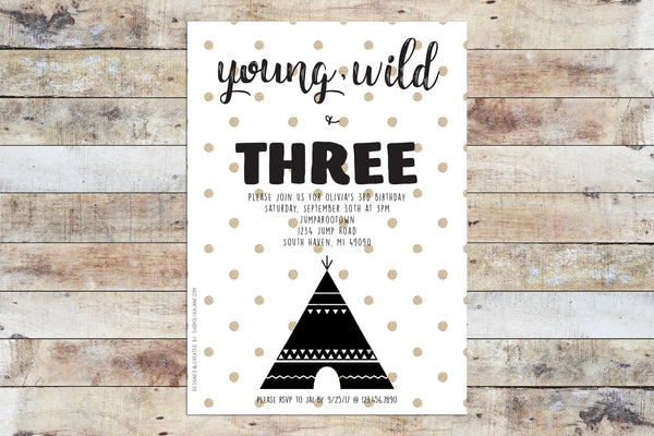Birthday Invitation - Young Wild Three w/ Polka Dots