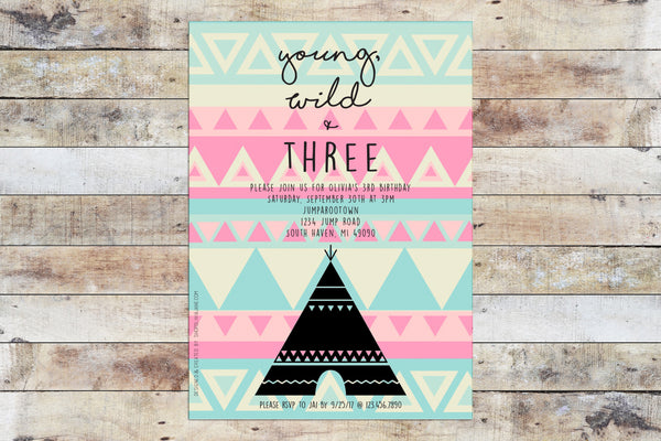 Birthday Invitation - Young Wild Three Tribal