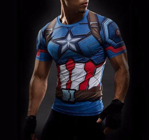 Captain America Compression Shirt - My Hero Swag