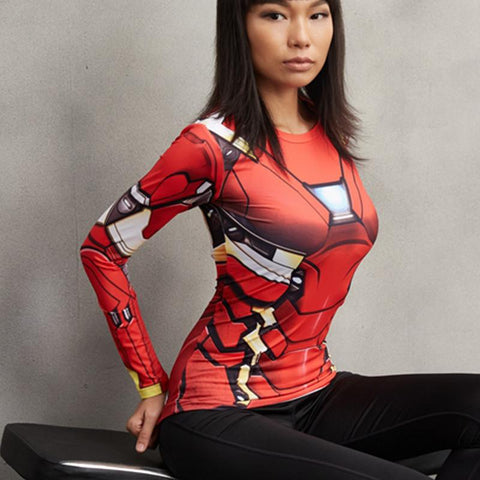 Women's Iron Man Long Sleeve Compression Shirt - My Hero Swag