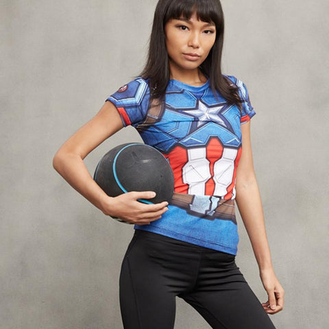 Women's Captain America Compression Shirt - My Hero Swag