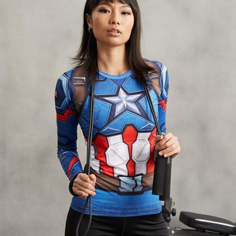Women's Captain America Long Sleeve Compression Shirt - My Hero Swag