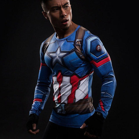 Captain America Long Sleeve Compression Shirt - My Hero Swag