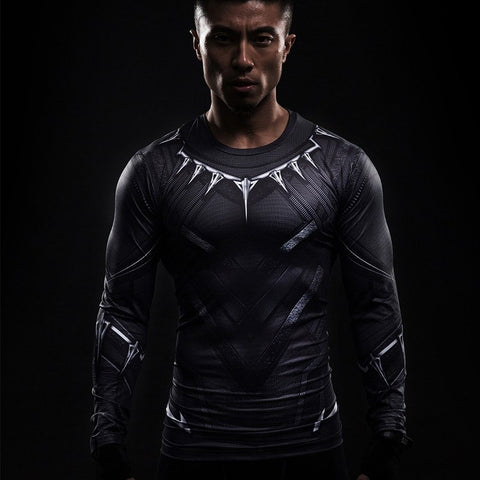 Black Panther Long Sleeve Compression Shirt - My Hero Swag