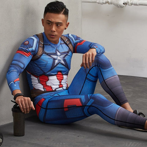 Captain America Compression Leggings - My Hero Swag