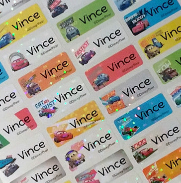 disney car 2 character waterproof name labels 8 99 rainbow labels