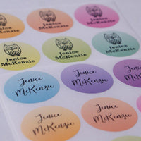 Gradation Glitter Rainbow Round Name Labels