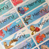 Waterproof Name Labels, Name Sticker, Character Labels, Disney Finding Dory Name Labels