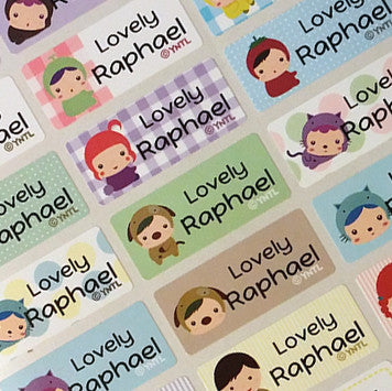 Waterproof Name Labels, Name Sticker, Character Labels, Happy Child Cute Name Labels