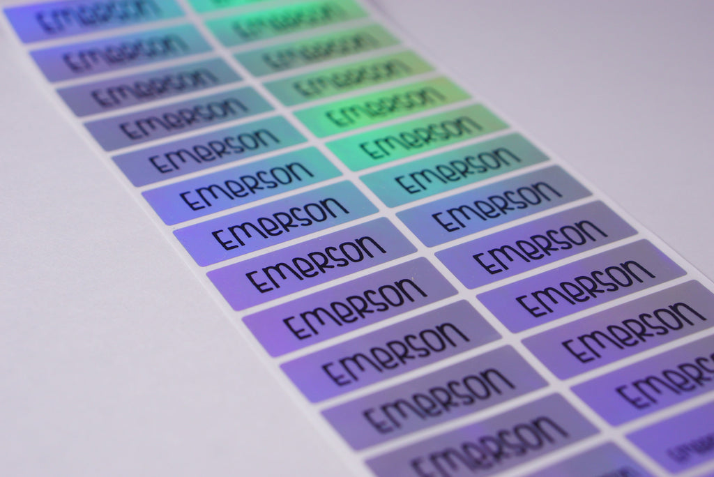 Silver Hologram Name Labels