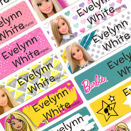 Waterproof Name Labels, Name Sticker, Character Labels, Barbie Name Labels