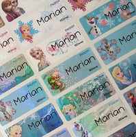 Waterproof Name Labels, Name Sticker, Character Labels, Disney Frozen Labels