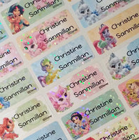 Waterproof Name Labels, Name Sticker, Character Labels, Disney Princess Pet Name Labels