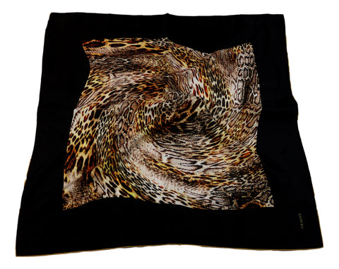 Large Square Satin Scarf Black Theme Leopard Print SAT201