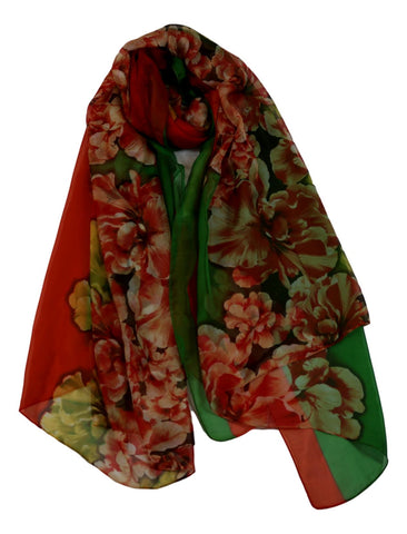 Extra Long Extra Wide Chiffon Scarf Red and Green Floral Print CHD333