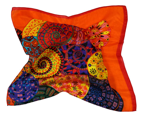 Silk Neckerchief Small Square Silk Scarf Orange Theme Circles Pattern QFJ122
