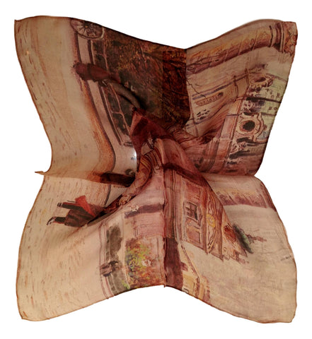 Silk Neckerchief Small Square Silk Scarf Brown Theme Art Print QFJ113